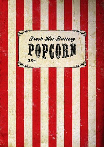 Vintage, Retro, Movie Popcorn Poster, A3 Print, wall art ...