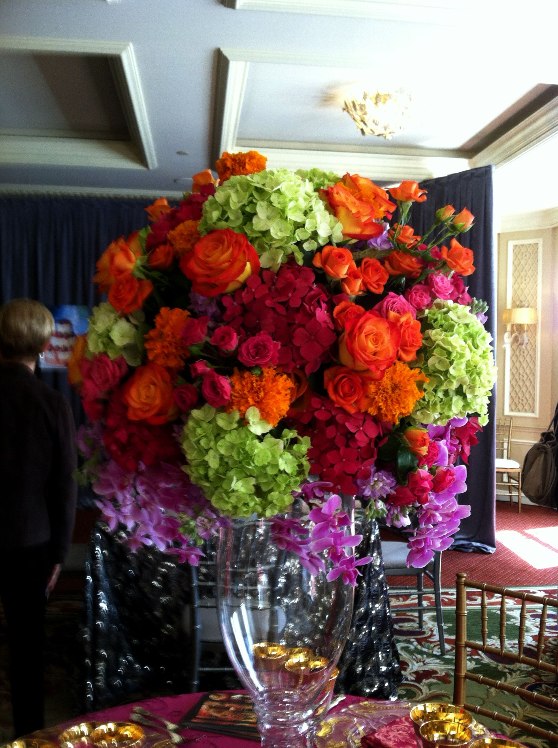 Red and Green Hydrangeas, Orange roses & marigolds with Purple ...
