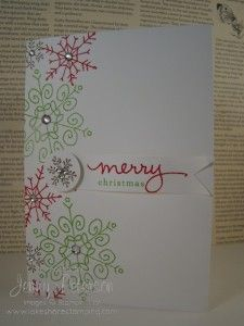 """Endless Wishes in Gumball Green, Real Red Ink stamped directly on notecard.  Little banner cut and stamped with greeting. Small snowflake stamped in Soft Suede ink  & punched with a 3/4"""" Circle Punch & popped using a Stampin' Dimensional. Rhinestones added for embellishment."""
