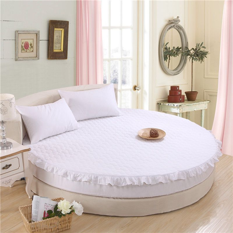 100% cotton quilted fitted sheet 3pcs/set circle elastic bed cover cotton pad