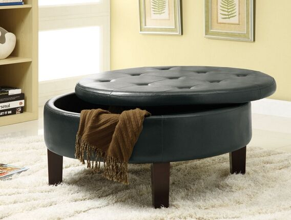 501010 Copper Grove Jamesia Rich Dark Brown Faux Leather Button Tufted Round Storage Ottoman Footstool Round Storage Ottoman Storage Ottoman Furniture