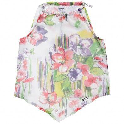 Girls Chiffon Floral Sleeveless Top