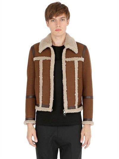 NEIL BARRETT Wool Felt & Shearling Jacket, Brown. #neilbarrett #cloth #casual jackets