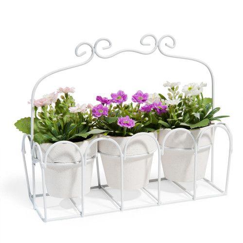 3 macetas con flores y estructura de metal | JARDIN | Pinterest ...