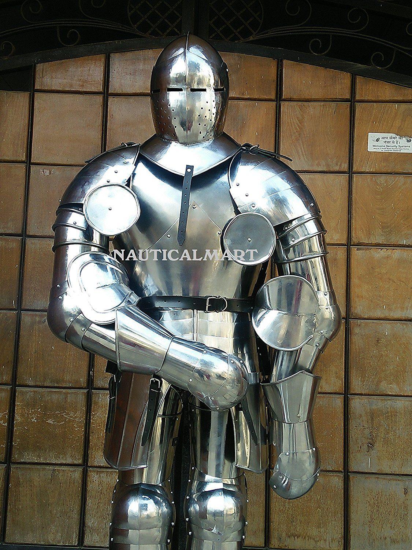 nauticalmart plate armour medieval great bascinet larp full suit of armor halloween costume amazon