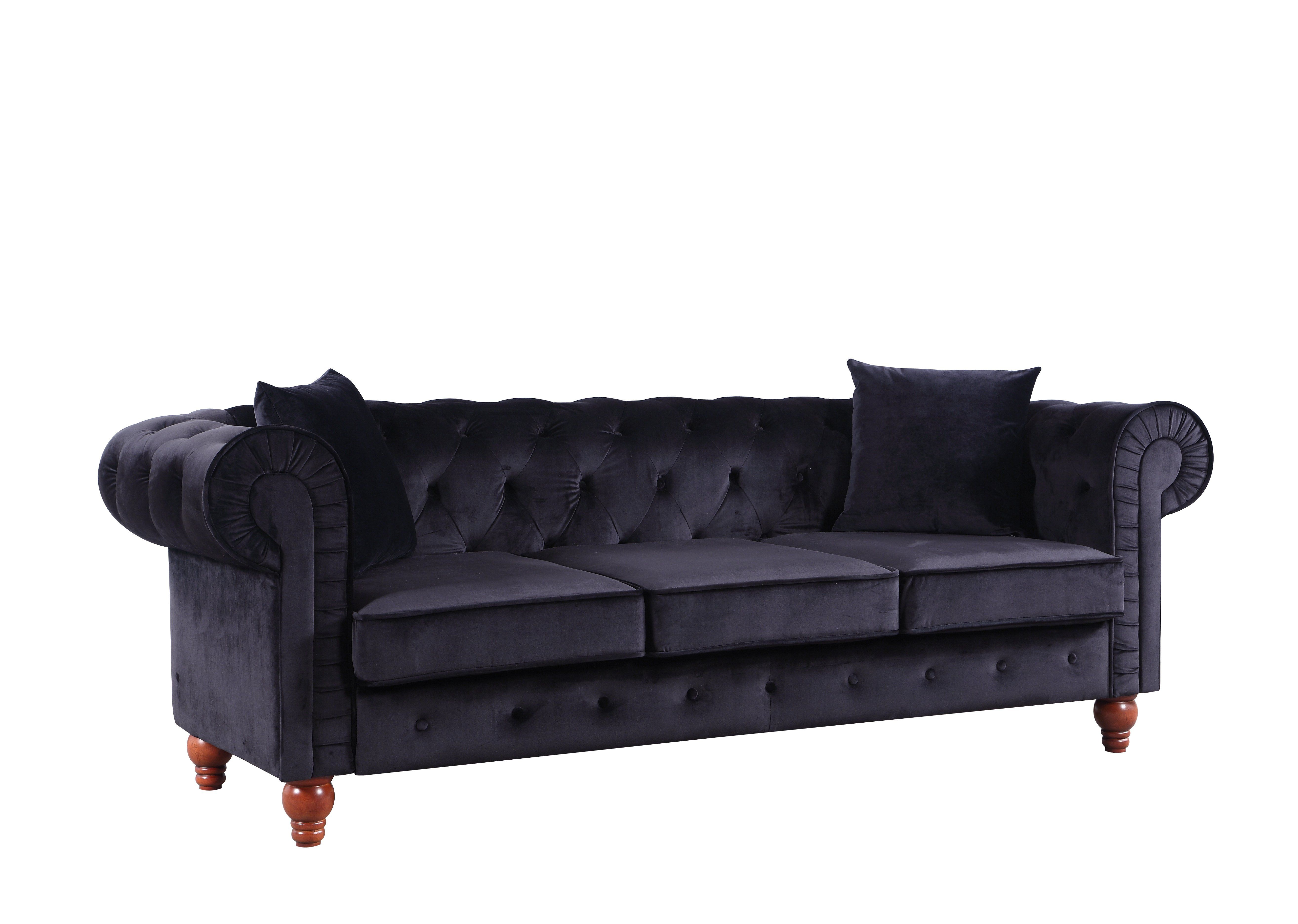 Stratford Clic Velvet Fabric Chesterfield Sofa Black
