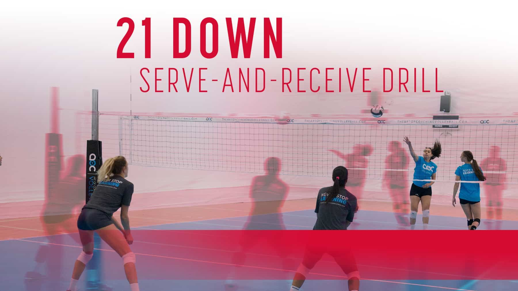 21 Down Serve And Receive Drill The Art Of Coaching Volleyball Coaching Volleyball Volleyball Skills Volleyball Workouts