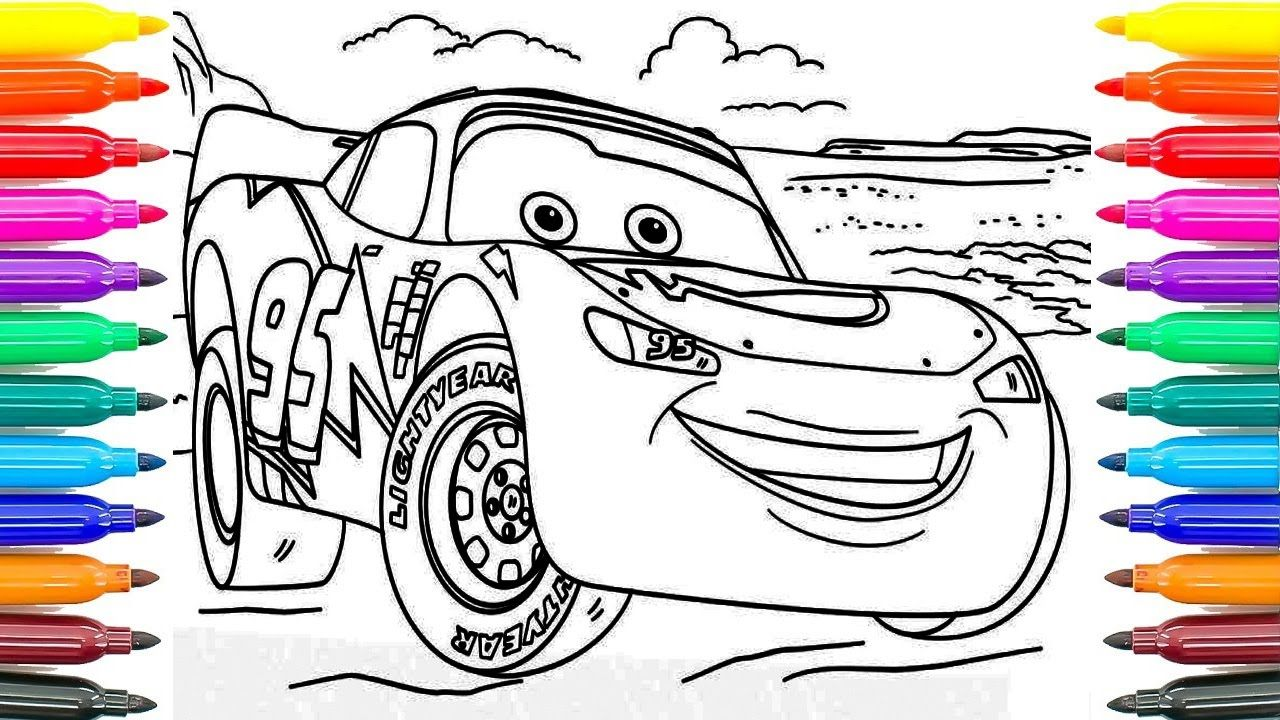 how to paint lightning mcqueen cars 3 learning coloring pages for
