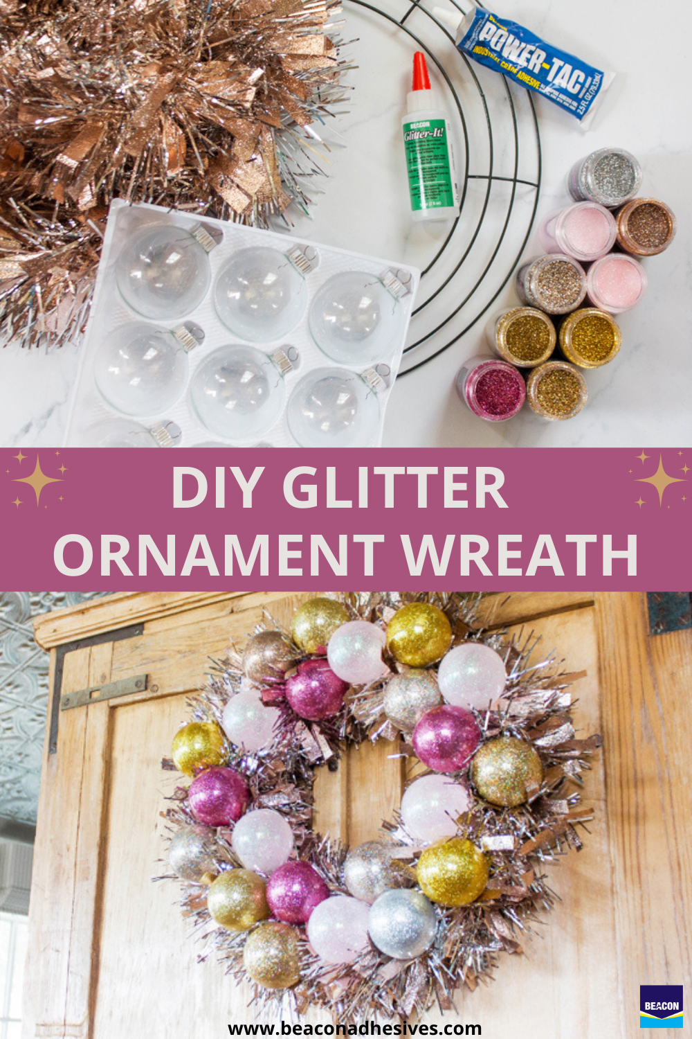 Beacon Adhesives Consumer Easy Diy Glitter Ornaments Using Glitter It Glitter Ornaments Diy Glitter Diy Glitter Ornaments