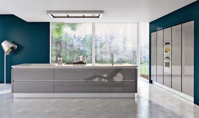 Coup De Coeur Cuisine Design Armony Cucine Sans Poignees Avec Ilot Et Murs Bleus Cuisines Design Design Cuisine