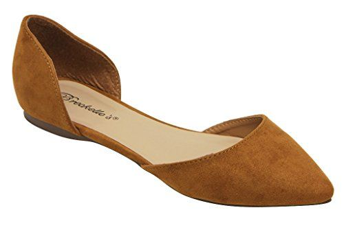Breckelles Dolley 52 women's d'orsay Flat Almond pointed Toe Slip On Suede Tan 7.5 - http://all-shoes-online.com/breckelles/7-5-b-m-us-breckelles-dolley-52-womens-dorsay-flat-on-12