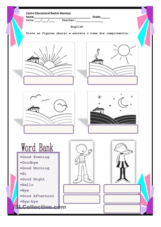 Greetings teaching english pinterest worksheets english class greetings kristyandbryce Gallery