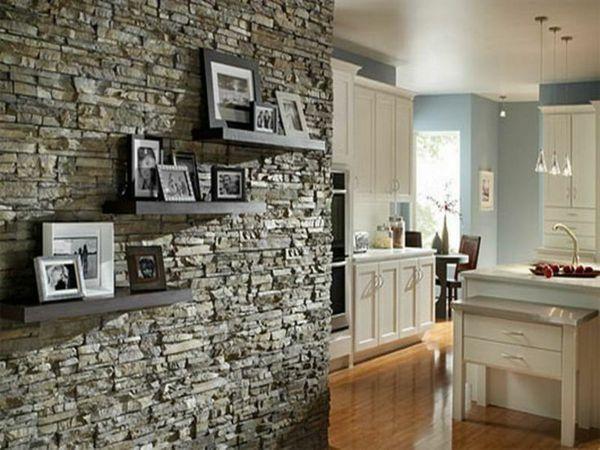 Moderne Küchengestaltung regale mit fotos an der wand aus stein moderne küchengestaltung