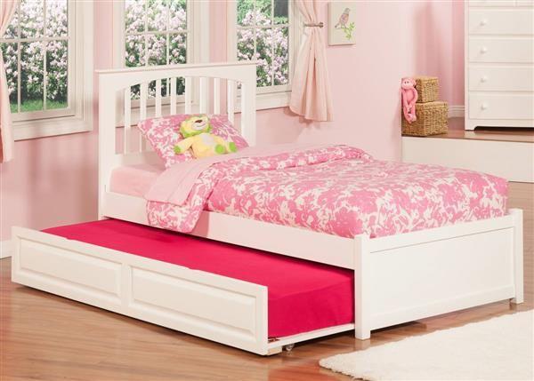 560279c3e26 Brooklyn White Wood Twin Bed w Flat Panel Footboard
