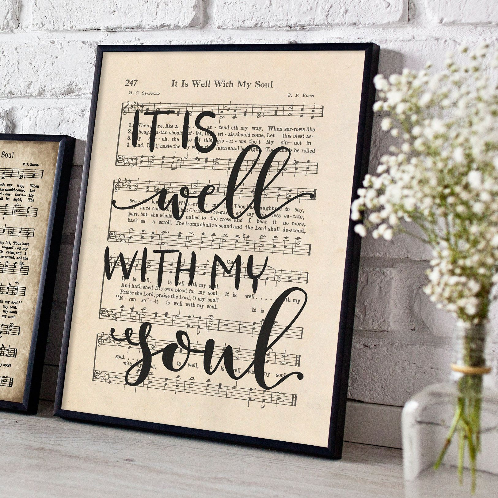 Hand Lettered It Is Well With My Soul Print Printable Etsy Hymn Wall Art It Is Well With My Soul Hand Lettering