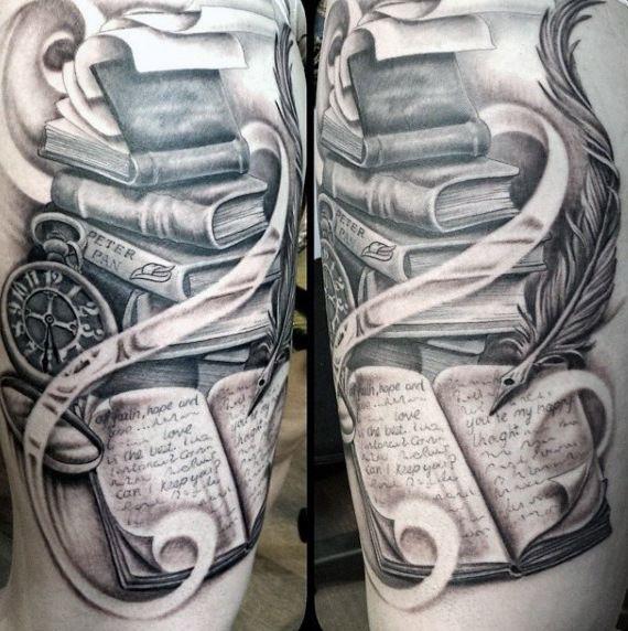 Photo de Top 75 idées de tatouage de livre – [2020 Inspiration Guide]