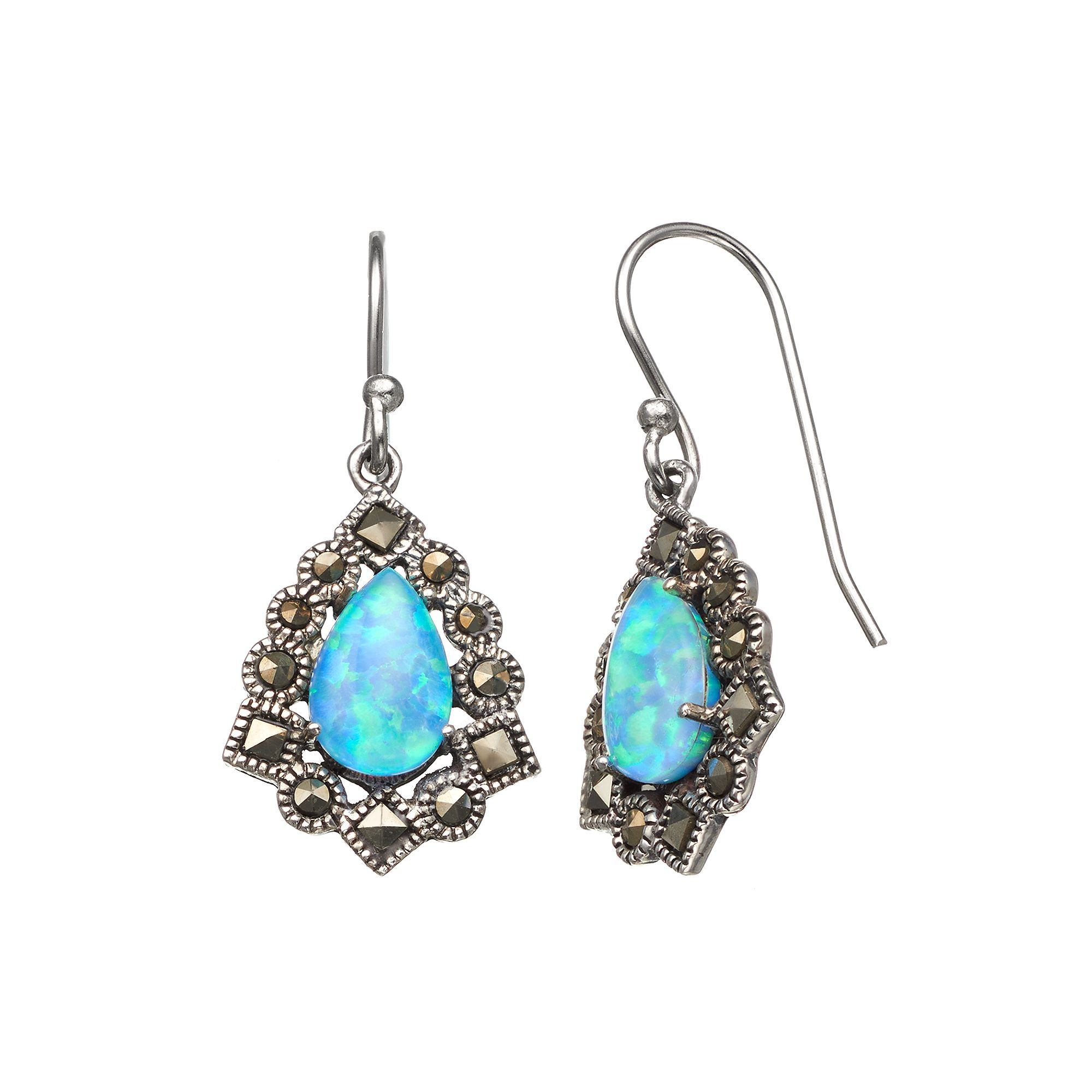 293501394 Tori Hill Simulated Blue Opal and Marcasite Sterling Silver Frame Teardrop  Earrings, Women's, White