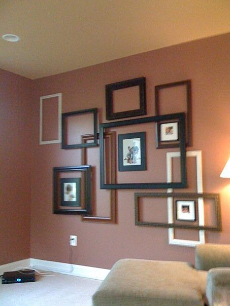 easy way to dress up a large empty wall - Empty Frames On Wall