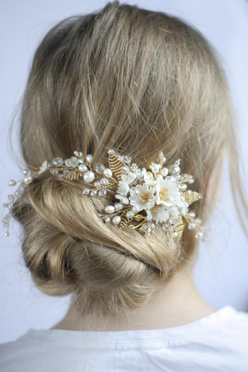 gold wedding headpiece flower wedding hair comb bridal hair