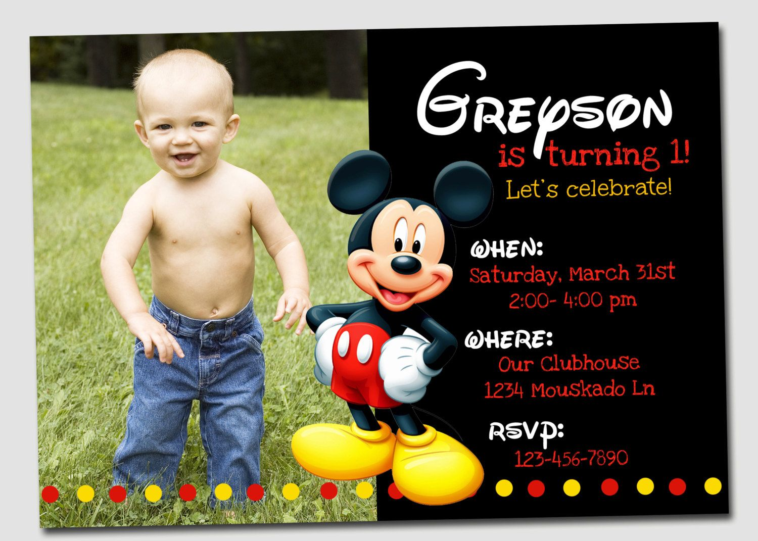 Adorable Mickey Mouse Birthday Invitation 1800 via Etsy – Mickey Mouse Invitation Template