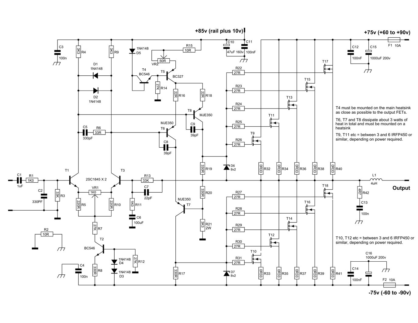 600 Watt Mosfet Power Amplifier Circuit Diagram