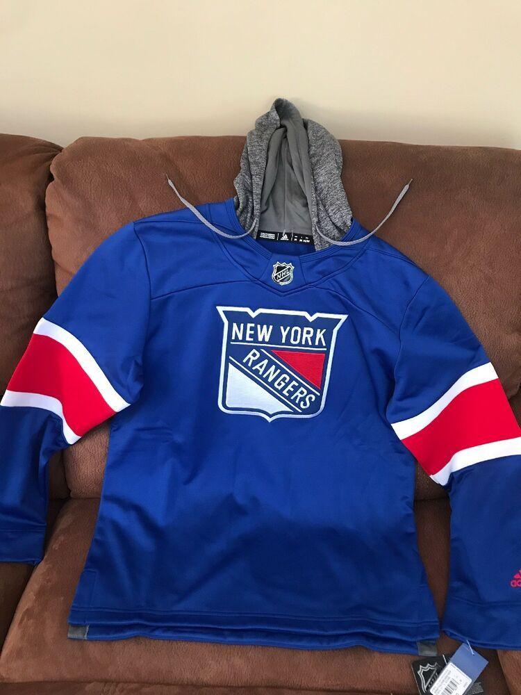 bab29dd70 Adidas New York Rangers NHL Hockey Pullover Hoodie NWT Size M Men ...