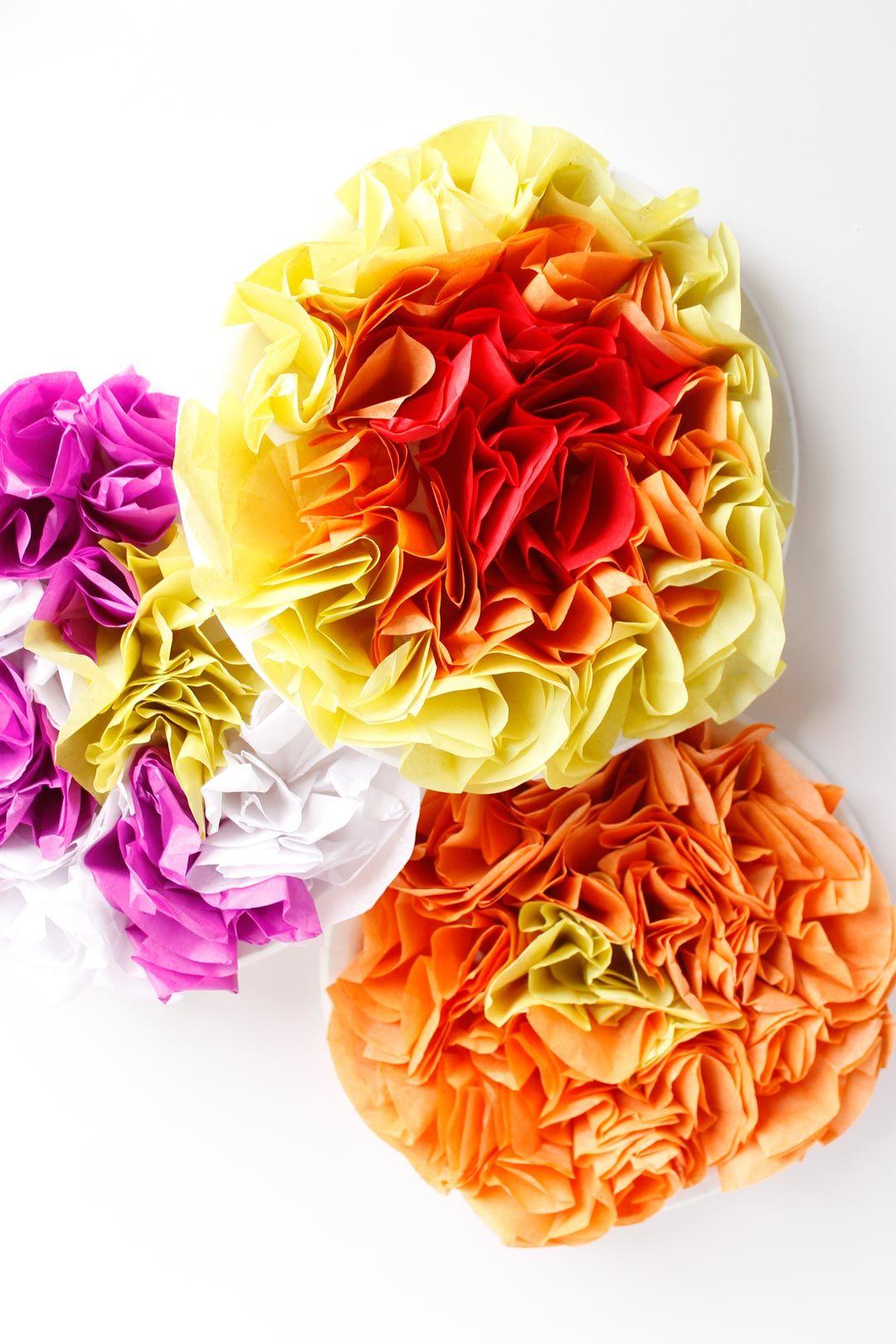 Easy Tissue Paper Flower Craft Tissue Paper Flowers Simple Crafts