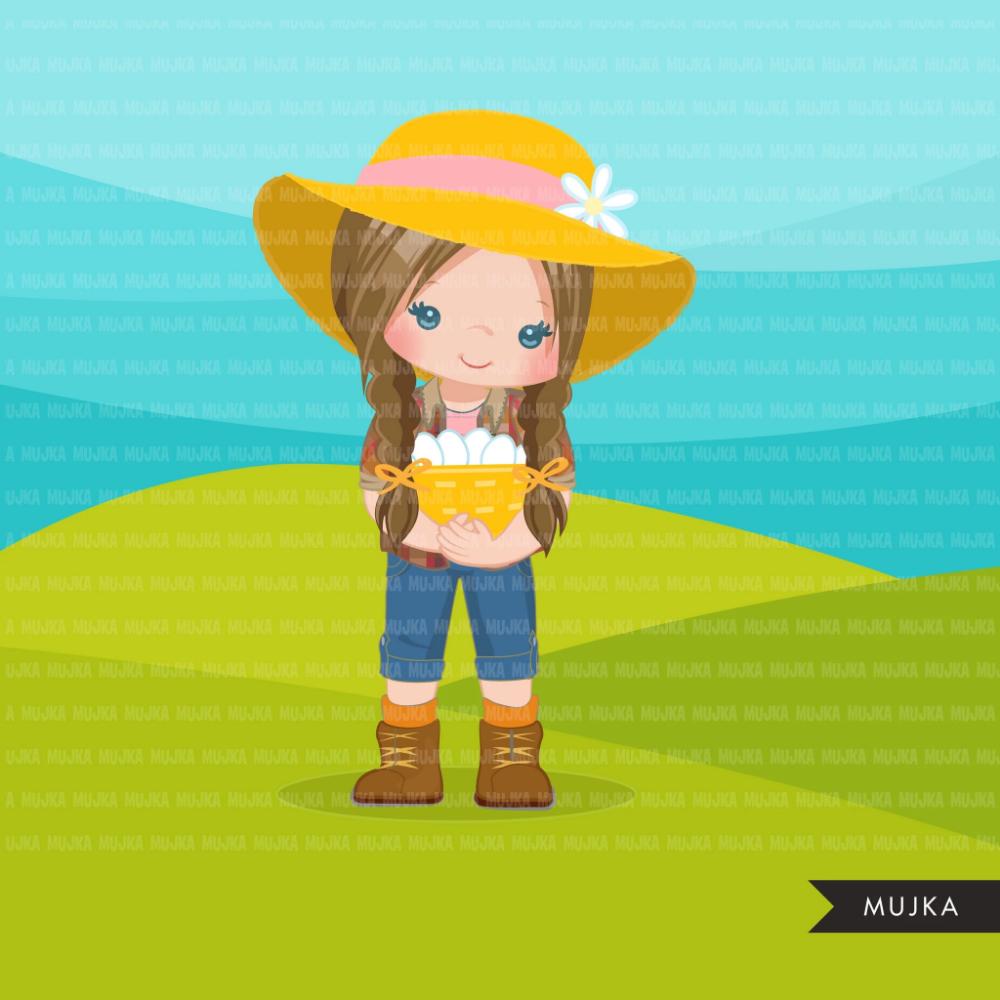 Farmer Girls Clipart Farmer Characters With Basket Of Eggs Farmer Ha Mujka Cliparts Girl Clipart Farmer Girl Girl With Hat