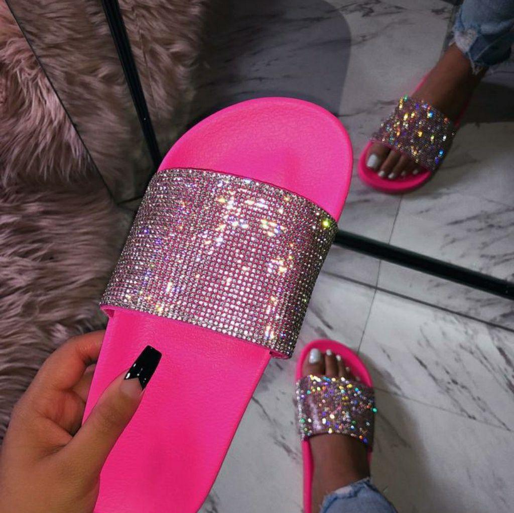 Kimmy rhinestone neon slide pink Boutique Cute slides