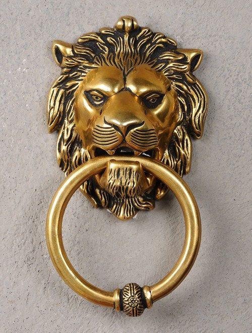 Brass Lion Face Door knocker 7.6in x 4in x 2in