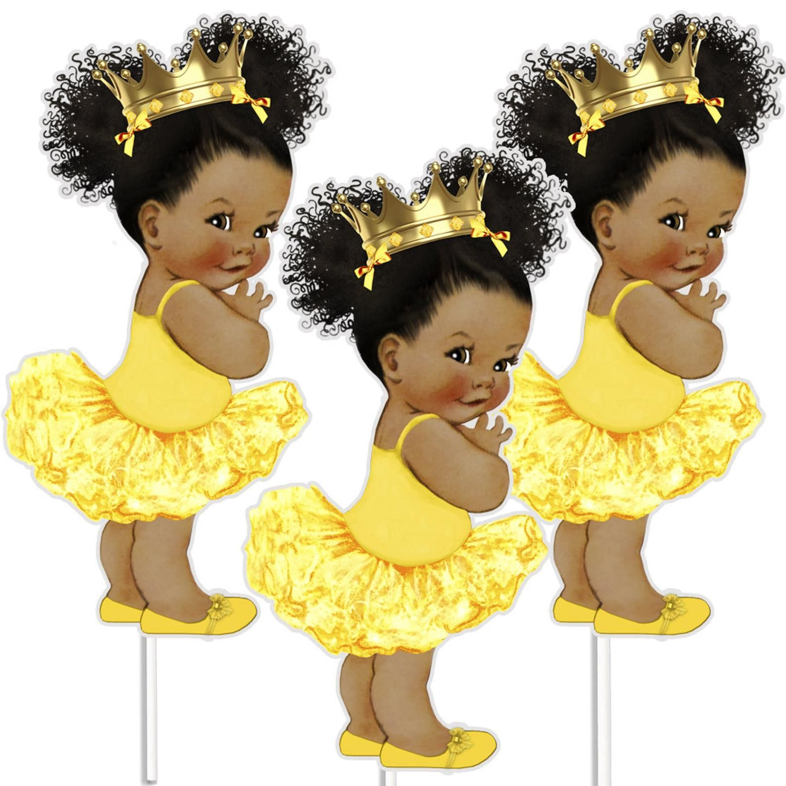 3 Yellow Gold Princess Centerpieces African American Baby Shower Decor In 2021 Black Baby Art Princess Centerpieces African American Babies
