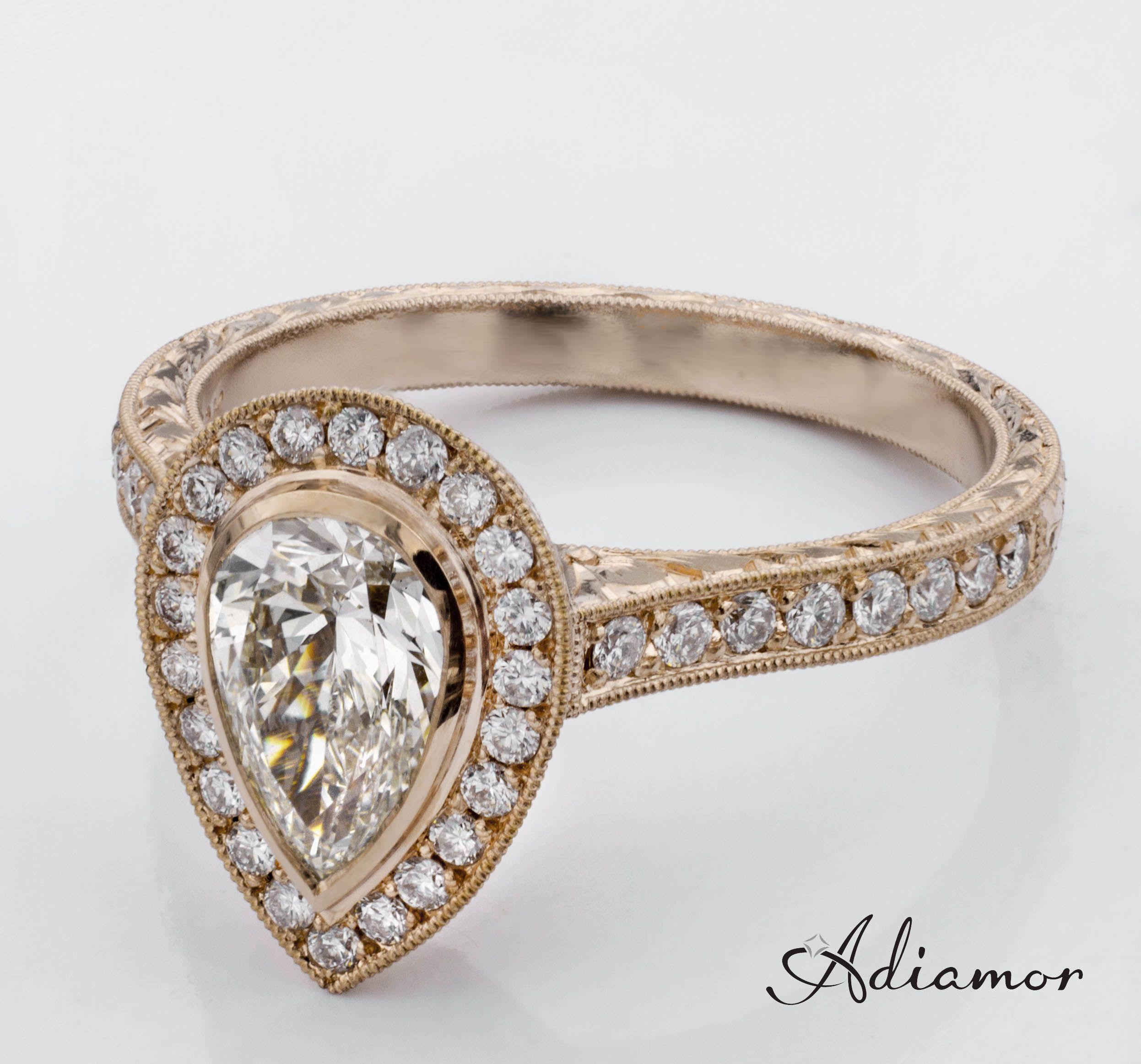 Halo rose gold diamond engagement ring bezel - Custom Pear Halo Diamond Engagement Ring In Rose Gold From Adiamor
