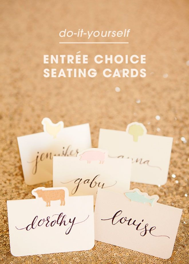 The cutest diy entree choice seating cards ever wedding darling diy idea for wedding seating cards with each guests choice of entre using your solutioingenieria Gallery