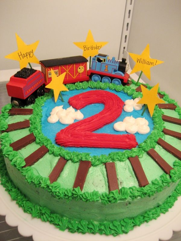 Thomas The Train Cake For Son S Birthday Chocolate Mint Frosted With Ercream Hershey Bar Rails