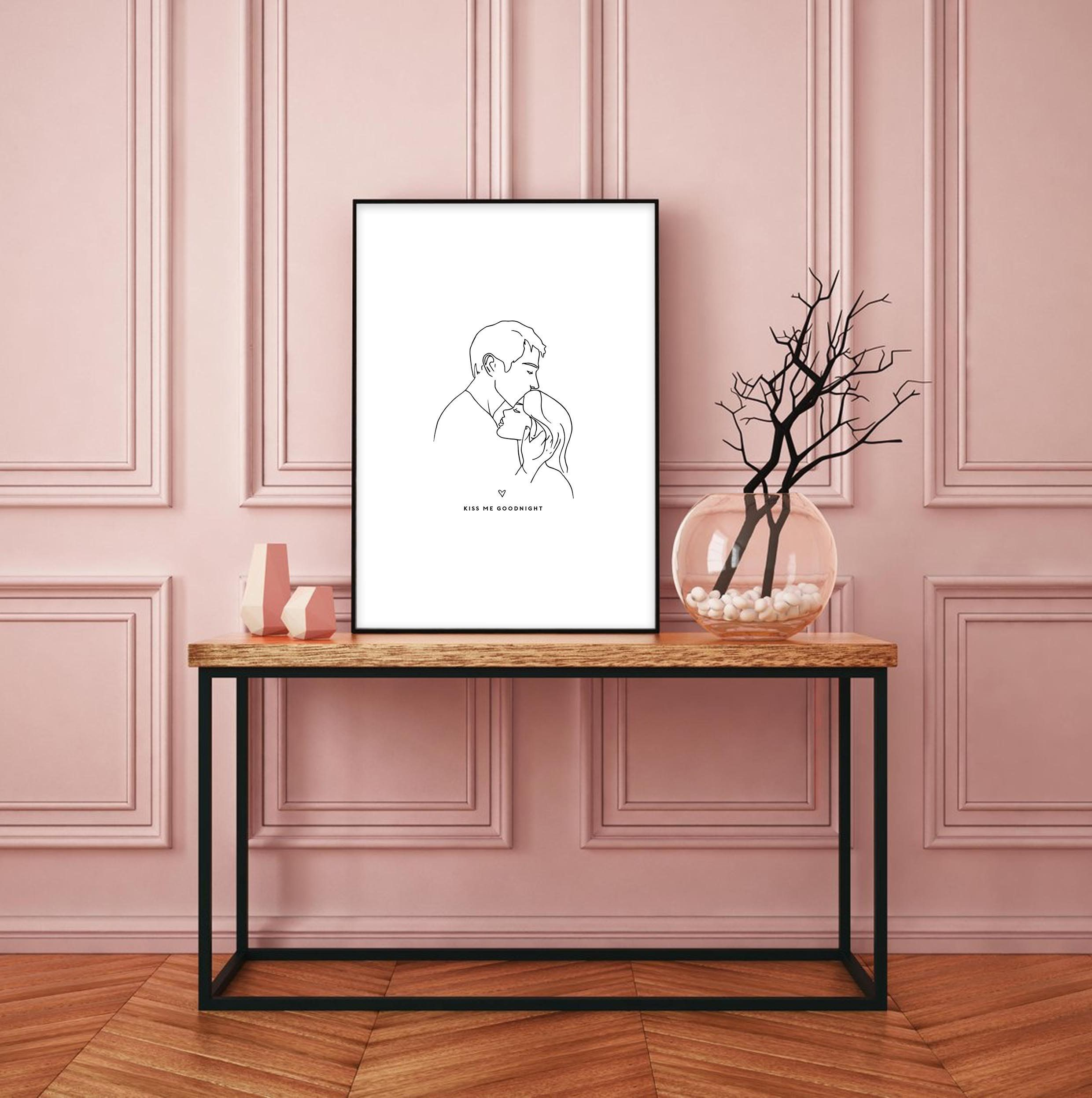 Kiss me goodnight wall art bedroom print love