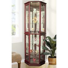 Corner Curio Cabinet Display Case Glass Doors Lighted Mirrored