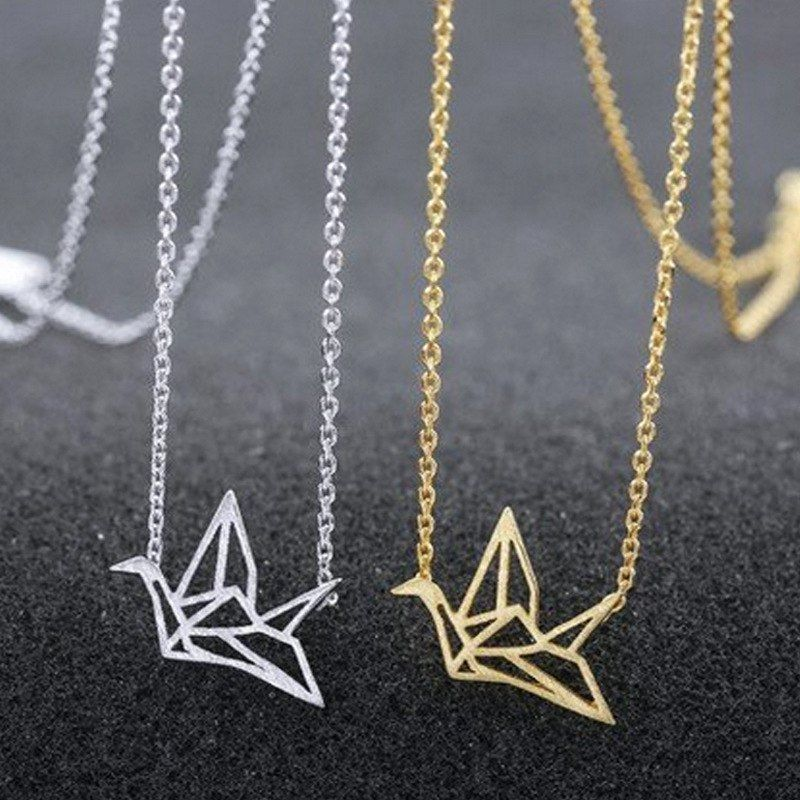 Origami necklace geometric crane bird gold