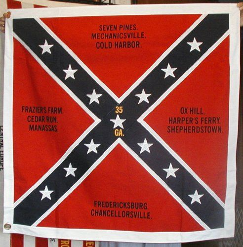 Reproduction Of A Battle Flag Of The 35th Georgia Civil War Flags War Flag Civil War Confederate