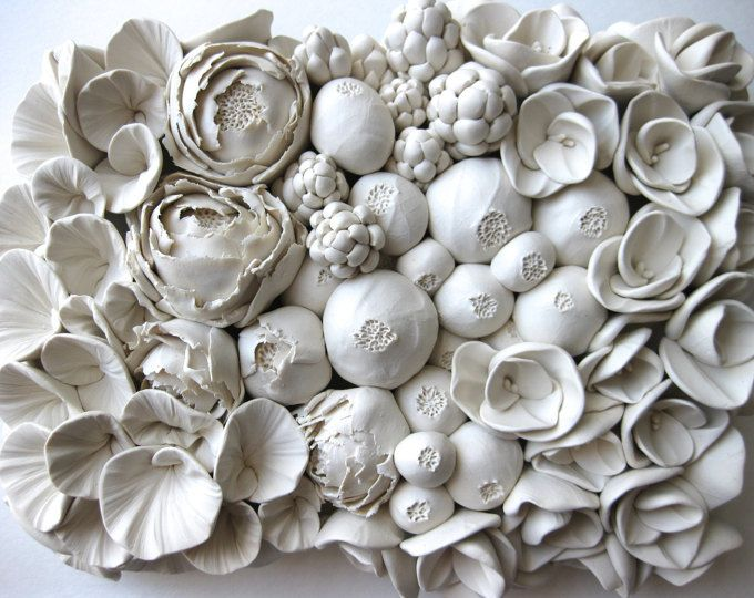 maitake clay wall tile etsy flower sculptures ceramic on hole in the wall cap oriental id=29250