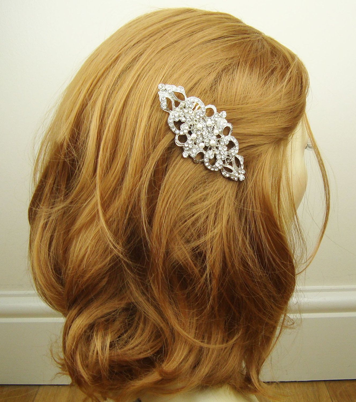 Victorian Style Wedding Hair: Victorian Style Bridal Hair Comb, Rhinestone & Pearl