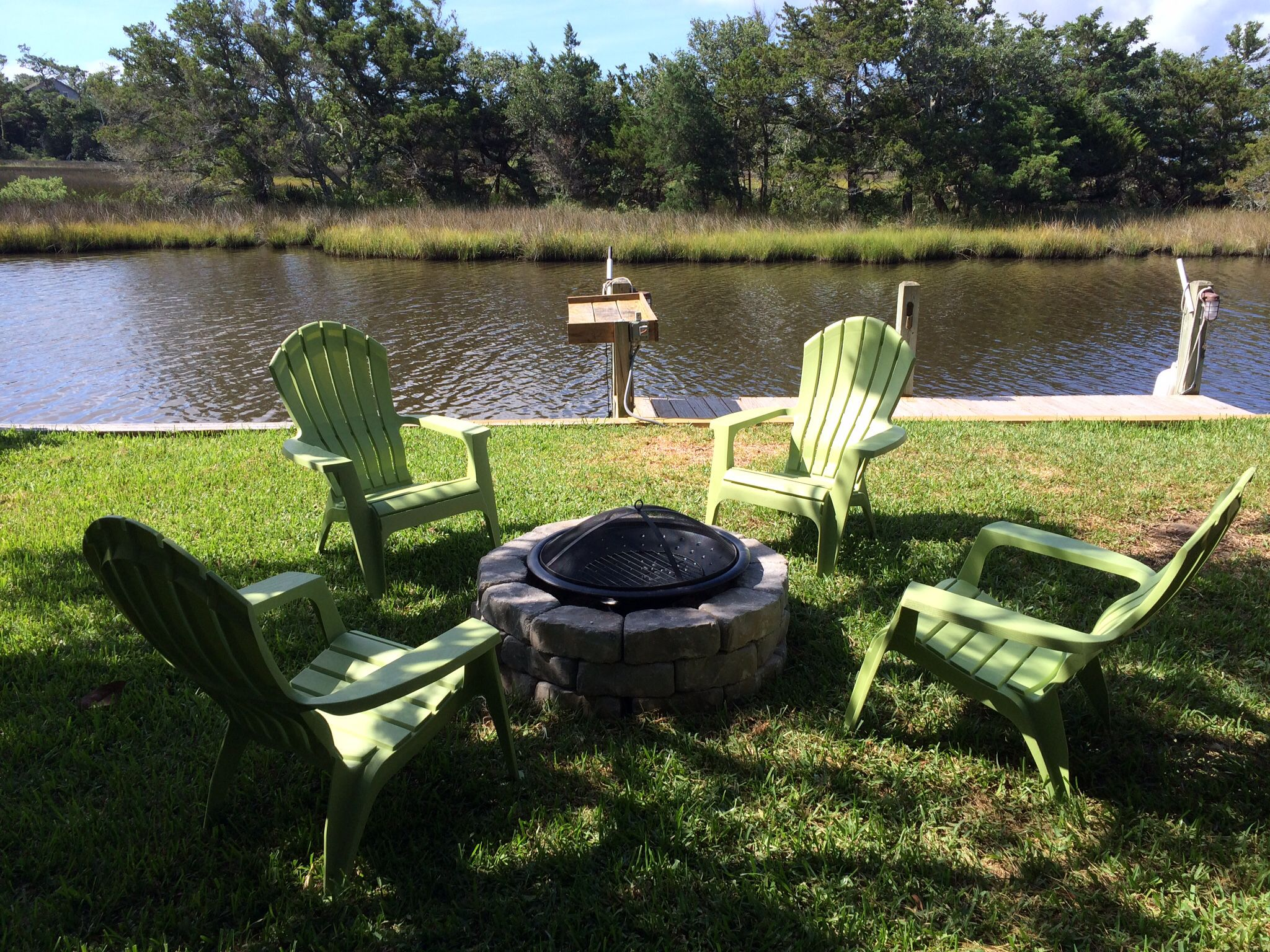 Our fire pit by the canal on Hatteras.