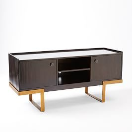 Staggered Wood Console 76 Quot Living Room Media Storage Furniture Furniture Placement Living Room