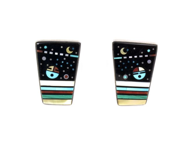 Earrings | Jesse Monongya. Sterling silver with mosaic inlay of jet, tuquoise, ivory, shell, coral, and malachite