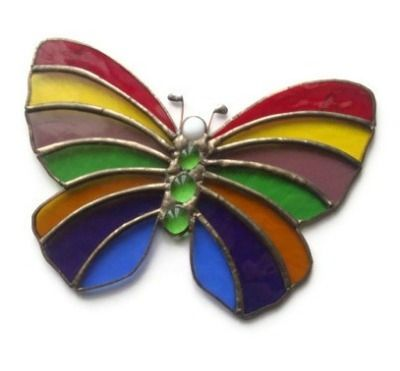 Rainbow Butterfly Stained Glass Panel