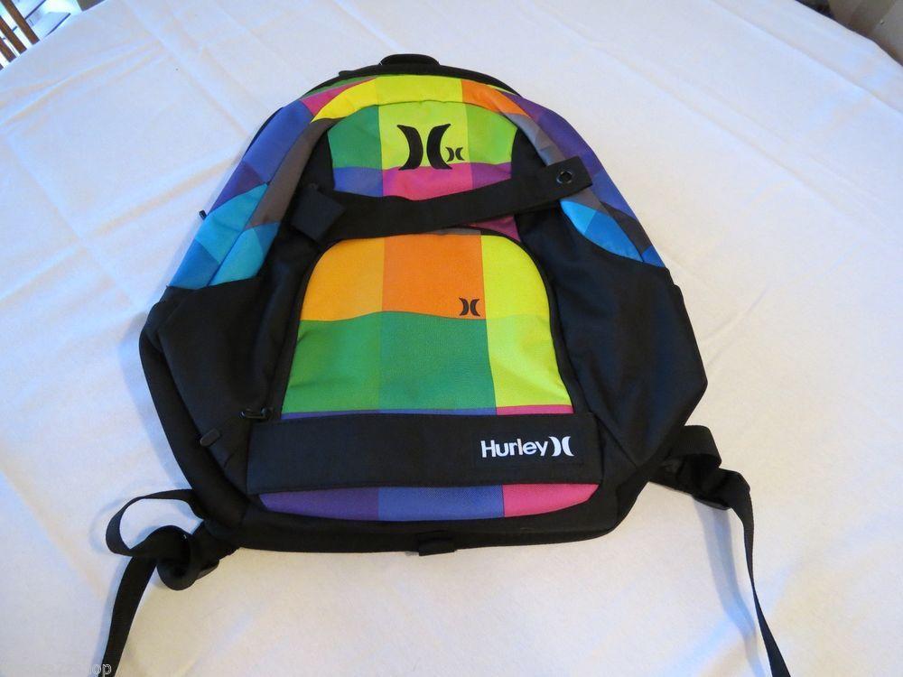 Hurley Book Bag Back Pack Backpack Mens Boys Surf Skate Black NEW Skateboard