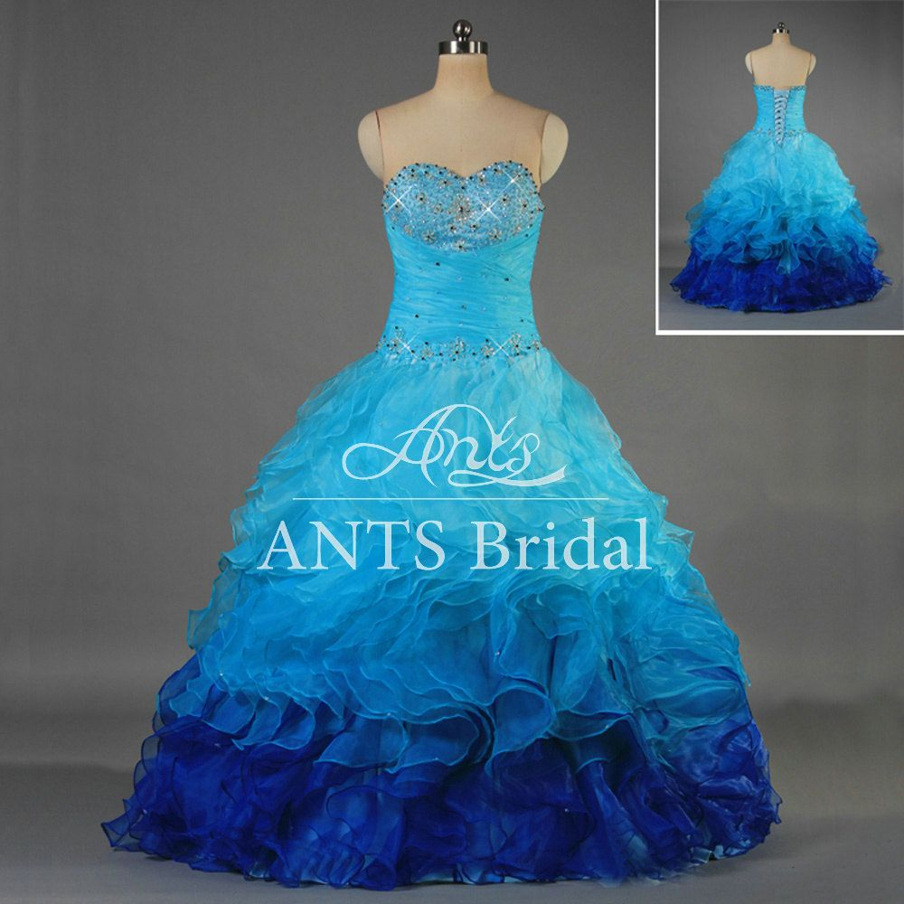Unique Formal Beaded Sweetheart Blue Colored Prom by AntsBridal ...