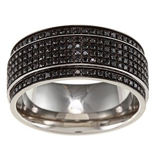 stainless steel mens 12ct tdw black diamond wedding band