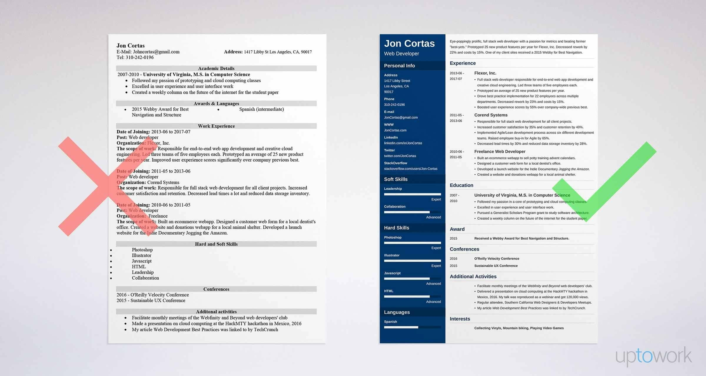 Resume Examples 2013 Bad And Good Resume Examples Comparison  Zentangle  Pinterest .