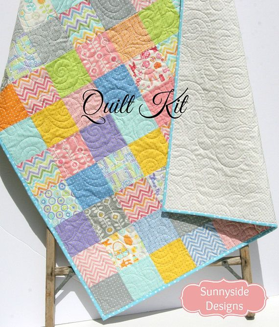 Baby Quilt Kit, Precut Charm Pack Quilt Kit, Quilting Ideas ... : baby patchwork quilt kits - Adamdwight.com
