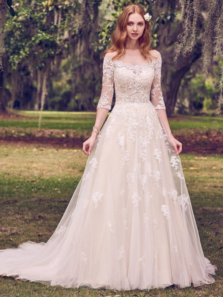 Bree Romantic Lace Motifs Cascade Over Tulle In This Illusion Off The Shoulder A Line Weddin Sleeved Wedding Aline Wedding Dress Wedding Dresses Kleinfeld